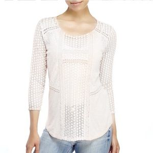 Lucky Brand Lace Cotton Longsleeve White Medium